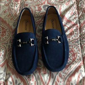 Men's blue slip on loafers